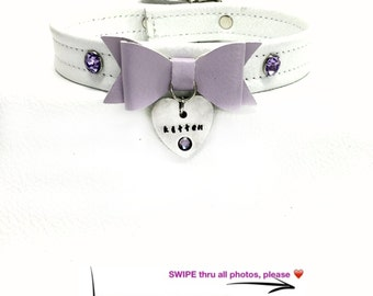 BDSM DDLG Engraved Kitten Play Collar White Leather with Lilac Bow, Swarovski Crystal Rhinestones Buckle Closure