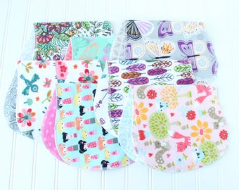 Baby Girl Burp Cloths - Set of 7 - Baby Shower Gift - Baby Gift - Woodland - Aztec - Feathers