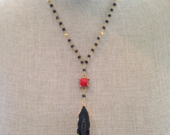 Black, Gold and Red Necklace with Black Druzy