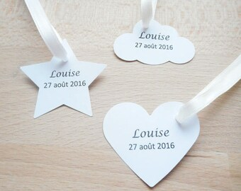 Wedding and baptism, Lot 20 labels / brand square, heart, cloud or star, black text, customizable paper label, personalized