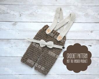 CROCHET PATTERN - Crochet newborn baby pants pattern, newborn pants and bow pattern, newborn photo prop set pattern, crochet baby pattern