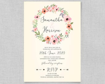 Bohemian floral wedding invitations, Boho rustic wedding invitations, Elegant floral wedding invitation, Wedding invites uk, A5