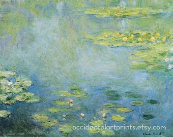 Monet Water Lily Wall Art Print, Fine Art Reproduction, Home Decor, Claude Monet, Giclee Fine Art Print, Impressionism, Office Art Print