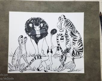 """Original Art // Shapes: Purr // Pen and Ink 8x10"""" Drawing matted to 11x14"""" // frame ready"""