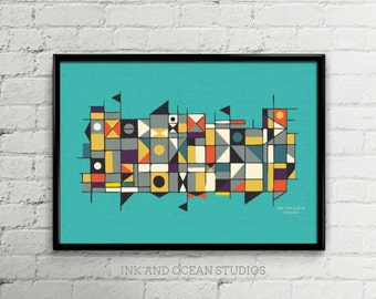 Stunning Mid century modern vintage iconic square pattern print download printable art