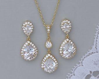 Gold Bridal Jewelry Set, Gold Crystal Bridal Set, Rose Gold & RHODIUM, Bridesmaids Jewelry Set, Clip On Option, Wedding Jewelry, TAMARA G4