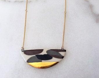 Calico Crescent Necklace | Statement Necklace | Porcelain Necklace