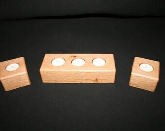 Set of Handmade Solid Oak Tea Light Candle Holder