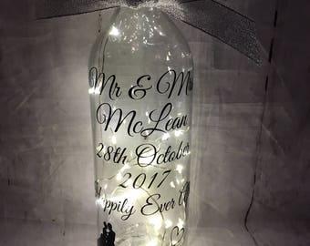 Beautiful Light up Wedding Wine Bottle