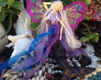 PURPLE/BLUE Mermaid Tail Doll Butterfly Wings