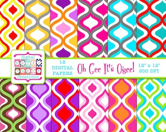 Digital Paper Pack - Ogee Digital Scrapbook Paper INSTANT DOWNLOAD