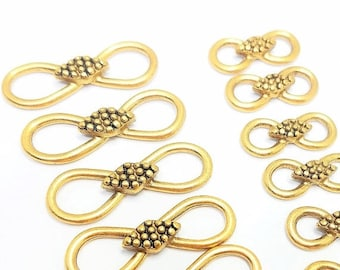 30% Off Sale Infinity Connectors Vintage Gold Tone Total 12   6 are 30 mm x 9 mm and 6 are 19 mm x 8 mm