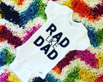 Baby onesie // Dad onesie // Dad outfit // New dad gift // Baby shower gift // New dad shirt // Rad like dad // Rad // Funny onesie