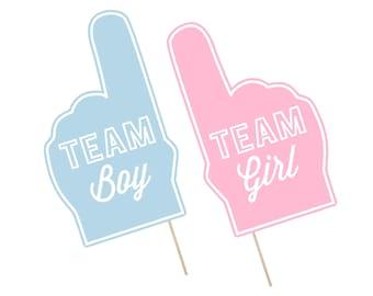 Printable Gender Reveal Photo Booth Props . Gender Reveal . Team Boy/Team Girl . It's A Boy/Girl . Fan Foam Finger . Instant Download