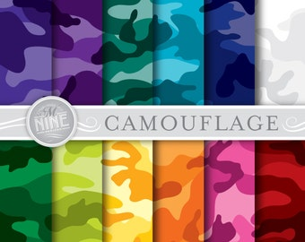 """CAMOUFLAGE Digital Paper: """"BRIGHT CAMOUFLAGE"""" Pattern Prints, Camouflage Backgrounds Scrapbook Print"""
