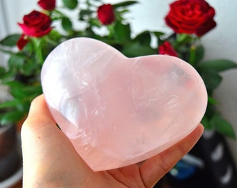 LARGE Rose Quartz Heart, Rose Quartz Crystal Heart, Gemstone Heart, Large Crystals and Stones, Love Stone, Valentines gift for Her