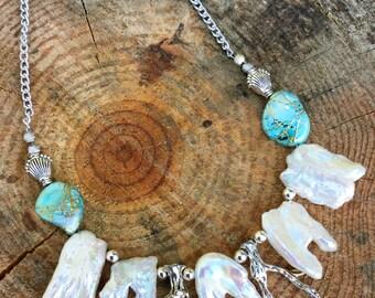 BEAUTIFUL Handmade Pearl Necklace, Boho, Tribal, Beach, Shell, Coral, Sea Goddess, Gypsy, Summer, Sexy, Festival(Mermaids Treasure Necklace)