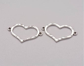 2 pcs, 34mmx22mmx2mm, Alloy Links, Lead Free and Nickel Free, Heart, Two Holes, Antique Silver