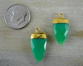 Chalcedony   Gold Bezeled Arrow Pendant Beads   Focal Pendant