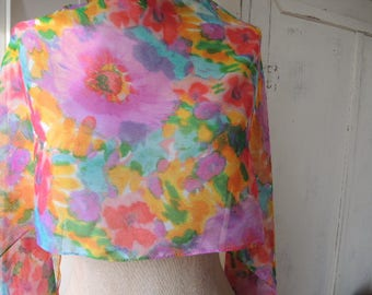 Vintage 1980s scarf sheer polyester colorful floral abstract flowers long 14 x 73 inches