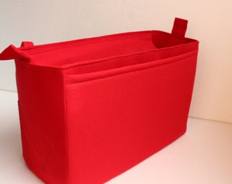 Extra tall Large Bag insert /Purse insert with Zipper closure  and iPad case in Red fabric