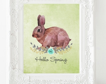 Hello Spring printable instant download spring decor bunny printable spring wall art spring sign welcome spring wall art bunny decor