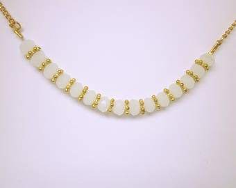 JEWELRY NECKLACE White Facet Beaded Necklace Gold Chain And Spacers Minimal Elegant Necklace Gift Ideas For Her