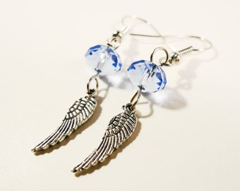 Blue Feather Earrings, Wing Charm Earrings, Periwinkle Blue Crystal Bead Earrings, Beaded Dangle Earrings, Beadwork Jewelry, Teen Jewelry