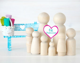 5 Families of 8 Wooden Peg Dolls - Unfinished Wooden People - Large Family wooden peg dolls - 40 Wooden dolls - Wooden Family - DIY Crafts
