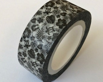 "CLEARANCE Washi Tape Print 'Hawaiian Style"" in Black by 'MechaKucha808'  15mm x 10 Meters"