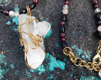 Wire-Wrapped Quartz Crystal Necklace