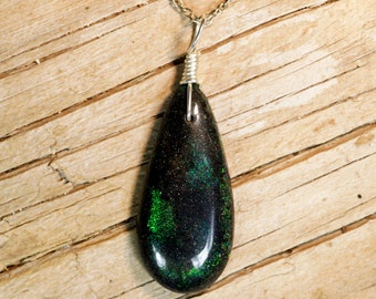 Deep Emerald Greens, Andamooka Matrix Opal Pendant on Sterling Silver Chain Necklace