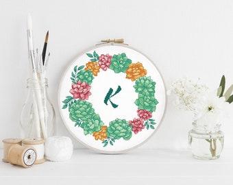 Letter K cross stitch pattern Initial Monogram K Succulent wreath Name Floral Nursery Baby Girl Women Boho Tribal Instant download PDF #595