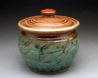 Stoneware Lidded Sugar Jar- Turquoise and Shino glaze - Made to Order