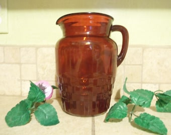 Royal Red Ruby Windsor Diamond Cut Pitcher, 1940's, Unmarked, Anchor Hocking, 64 oz.