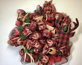 Deer evergreen Christmas wreAth