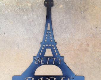 Personalized steel Eiffel Tower key rack