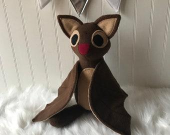 Brown Bat Plush, Bat Toy, Stuffed Bat