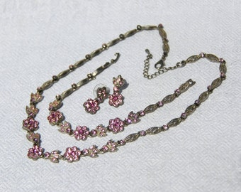 Vtg 50s Pink Rhinestone Parure of Necklace, Bracelet and Earrings