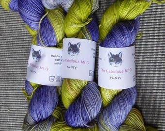 Pansy: Hand Dyed yarn, Sock Yarn, Merino/Silk/Cashmere, 4 ply, 100gm