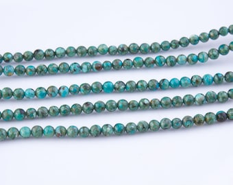 Sale!! 4mm Blue Green Natural Turquoise Gemstone Beads, Bead Strands, Loose Beads, Round, Semi Precious Gemstones, Priced per Strand,  TUR05