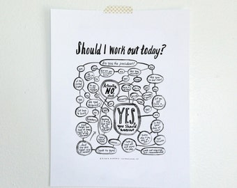 "11x14"" Should I Work Out Today? Flowchart print (BLACK AND WHITE)"