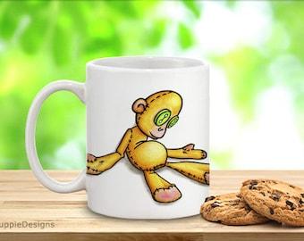 Mug art, cute coffee cup, teacup , baby orangutan nature lovers mugs gold orange green. Hot drink holder. Endangered species single item
