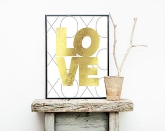 Gold Foil LOVE XOXO Print 8x10 or 11x14  Matte Options