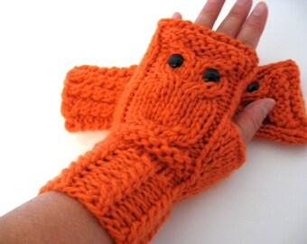 Owl Fingerless Gloves Mittens - Merino Wool Chunky - Pumpkin Orange / READY TO SHIP