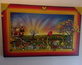 original mixed media fantasy scene painted on canvas