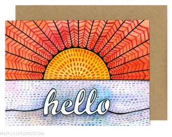 Hello Card, Miss You Card Friend, Long Distance Card, Friendship Card, Just Because Card, Best Friend Card, Penpal Card, Thinking of You