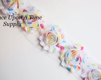 Candy Rainbow Polka Dot Print Shabby Rose Trim - Shabby Chiffon Rosettes - 1/2 Yard or 1 Yard - Rosette Printed Flower Applique - Bow Supply