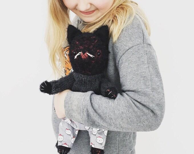 Little black mohair kitty cat