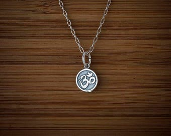 STERLING SILVER Tiny Ohm Om Charm Necklace or Earrings- Chain Optional